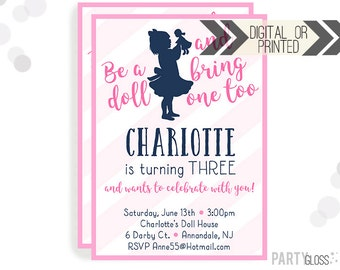 Baby Doll Party Invitation | Digital or Printed | Dolly Invitation | Doll Party | Doll Birthday Party | Dolly Invitations | Girl Doll Party