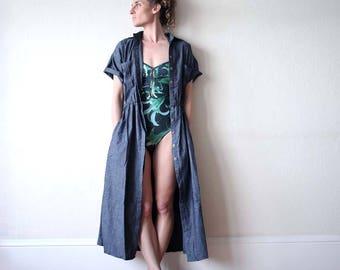 New for summer!! Shirtdress / Duster coat - vintage sportswear - activewear - yoga wear - dance wear. Denim and stripe linen. Onesize