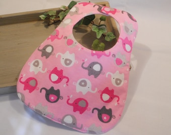 "BABY BIB in ""Pink and Gray Elephants"""