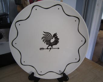 Royal China Black Rooster Weathervane Dinner Plate