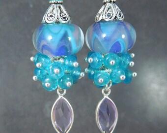 Amethyst Blue Jade & Glass Bead Dangle Earrings, Gemstone Cluster Earrings, Purple Pink Blue Boro Lampwork Earrings, Colorful Pastel Jewelry