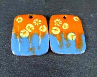 Orange Blue Yellow Enamel Earring Charms, Colorful Spring Floral Enameled Copper Jewelry Componenets Torched Fired Enamel Rectangle Pendants