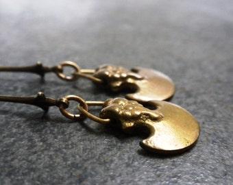 Viking Jewelry Brass Axe Dangle Earrings
