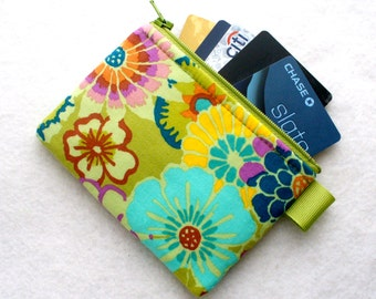Kaffe Fasset Fabric Zippered Credit Card Case Womens Card Holder Coin Purse Wallet Business Card Case Asian Circles Floral Green Purple MTO