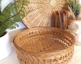 Vintage Woven Rattan Round Basket ~ Kitchen basket ~ Organizer ~ Table or wall decoration
