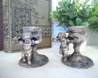 Vintage Ganz Cherub Taper Candle holders ~ Pewter ~
