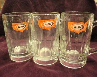 3 Vintage A & W Rootbeer Glass Mugs