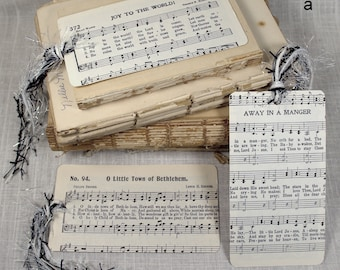 Set of Three Christmas Tags * hymns * vintage * packaging * gift wrap