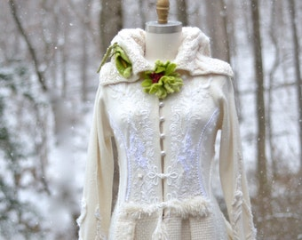 Wedding embroidered sweater COAT- fantasy boho Eco couture, Refashioned Winter Wonderland Weddings, OOAK art to wear.Size S/M. Ready to ship