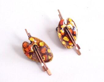 Artist Earrings, Vintage RENOIR MATISSE Enamel Copper Painter Palette Earrings, Vintage Copper Earrings, Matisse Jewelry, MCM Earrings