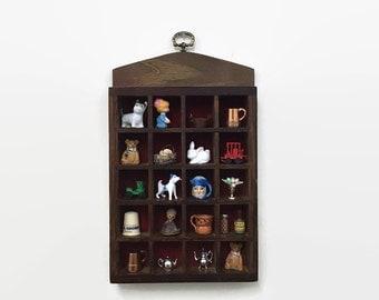 Vintage Shadow Box - Curio Display - Thimble Trinket Shelf Cabinet - Wooden Display for Miniatures & Knick Knacks
