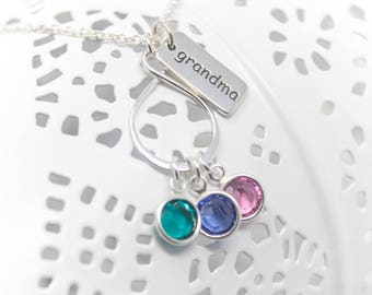 Grandmother's Necklace Small Infinity Sterling Silver grandma  necklace, Choice of Birthstone Crystals