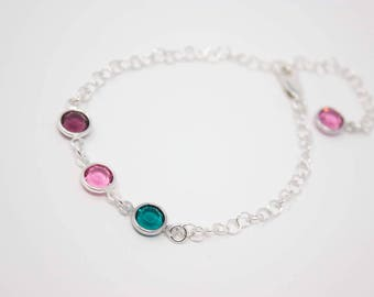 Mother's Bracelet, Crystal Birthstone Sterling Silver Bracelet, Choose your Birthstone Colors