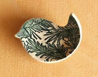 Ceramic BIRD Ring Dish - Handmade Tiny Porcelain Pine Needle Texture Bird Dish - Ready To Ship