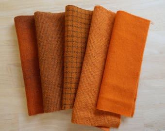 Orange Pumpkin - Hand Dyed Felted Wool in a Beautiful Collection a Perfect Rug Hooking and Applique Wool