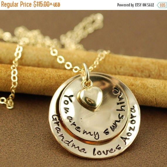 15% OFF SALE You are My Sunshine Necklace, Grandma  Necklace, Personalized Gold Necklace, Gold Jewelry, Hand Stamped Gold Necklace, Gift for