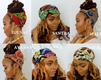 Satin Lined Head Wrap Wide Headband Pineapple Bun Wrap Ankara African Print Wrap Turban Wide Hair Wrap - Choose Print
