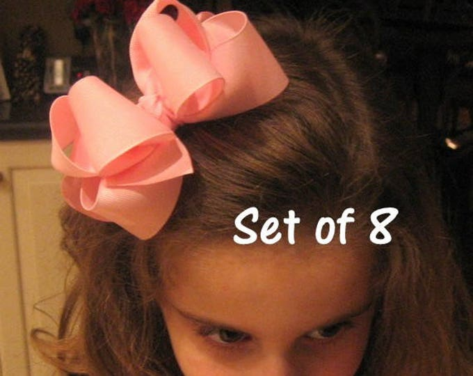 Boutique Hairbows, Girls Bows, Big Hair Bows, Set of 8 Double Layered Hairbows, Wholesale Hairbows, Girls Big Bows, Baby Headbands, dcp