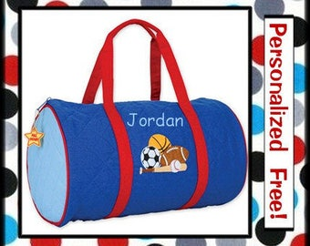 28 Fonts- Toddler Boy's Monogrammed SPORTS Small Quilted Duffle Bag by Stephen Joseph Personalized FREE
