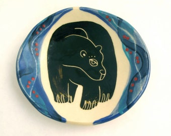Blue Winter Bear Dish