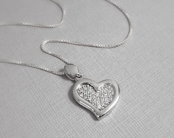 Heart Necklace, Sterling Silver Heart Necklace, Flower Girl Necklace, Wedding Necklace, Gift for Wife, Gift for Her, Gift for Mom