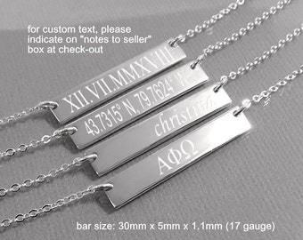 Sterling Silver Coordinates Necklace, Engraved Coordinates Bar Necklace, Gift for Wife, Gift for Mom, Layering Necklace, Girlfriend Gift