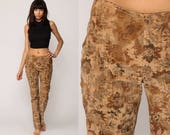 Bell Bottom Pants 90s VELVET Pants Floral Boho Festival Trousers Flare Hippie Vintage Bohemian Tan Brown Extra Small xs