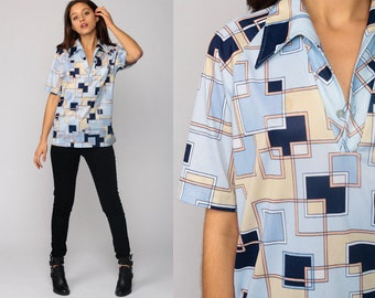70s Shirt Geometric Print Blouse Boho Disco Top Hippie Psychedelic Print 1970s Vintage Bohemian Button Up Polo Short Sleeve Blue Medium
