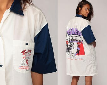 Pajama Shirt Dress 90s ESLEEP Pajamas Bowling Shirt Nightgown Mini Rockabilly Graphic Button Up White Short Sleeve Large