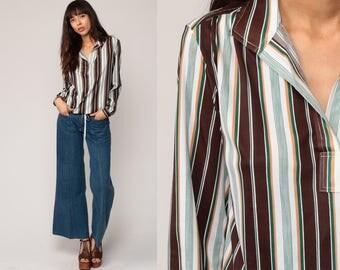 70s Striped Shirt Long Sleeve Top V-Neck 1970s Stripe Boho Collared Shirt Retro Blouse Vintage Hipster Shirt Brown White Green Small Medium