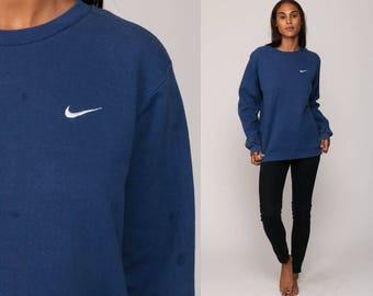 Nike Sweatshirt 90s Streetwear Sports Shirt Nike Swoosh Blue Oversized Athletic Urban 1980s Vintage Slouchy Plain Retro Extra Large xl
