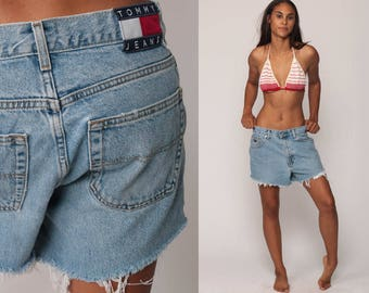 Tommy Hilfiger Shorts Cut Off Shorts 90s Denim Shorts Tommy Jeans Cutoff Jean Shorts High Waisted Cutoffs Blue Vintage Large 33