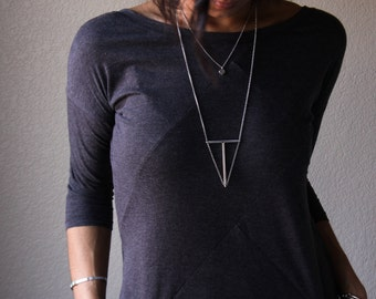 Terra necklace - sterling silver diamond shape floating pendant