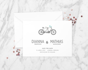 The 'Payton' Romantic Tandem Bicycle Save the Date Announcement