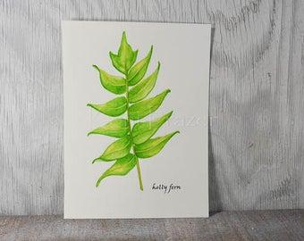 Fern watercolor painting, fern art, holly fern original watercolor painting, 9x12