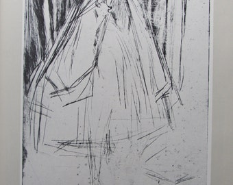 James Whistler -  Annie Haden - Black and White Etching, 9 x 12 in Vintage Book Page, American Artist