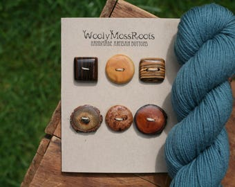 6 Mixed Wood Buttons- Mixed Woods- Wooden Buttons- Eco Craft Supplies, Eco Knitting Supplies, Eco Sewing Supplies