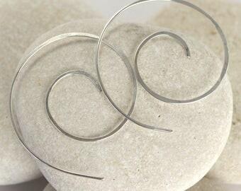 White Gold Swirl Earrings - Sterling Silver or 14K White Gold Nautilus Earrings
