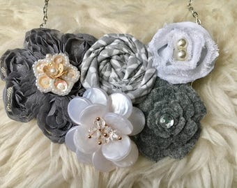 Grey and White Fabric Flower Statement Necklace, Bib Necklace, Rolled Rosette Statement Necklace, Fashion Necklace