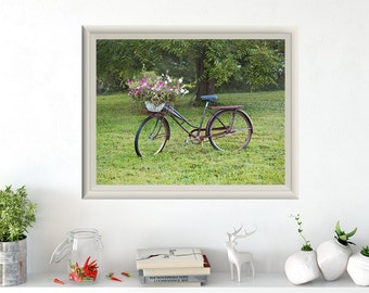 Rustic bike photo, vintage photography, canvas wall art home decor, bicycle and flowers art print, farmhouse decor, wall art, rustic bicycle