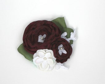 Cranberry Flower Hair Clip with Lace and Swarovski Accents