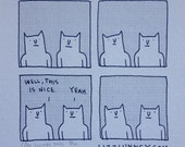 """Riso print: """"Well, this is nice"""" Cats A4 or A5 size Limited Edition Lizz Lunney Comic"""
