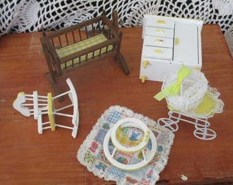 Vintage Wood Dollhouse Miniature Baby Furniture 5 piece ~ Walker ~ Baby Bed ~ Dresser ~ Rocker~ and Baby Carriage --Baby's Room