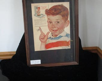 Norman Rockwell 1955 Life magazine Ad for Kellogg Corn Flakes Framed Wall Art Hanging