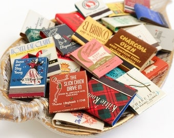 Vintage 1950s 60s Matchbook Collection Set of 36 / Bars, Restaurants, Hotels, Casinos, Small Businesses / Mid Century Graphics