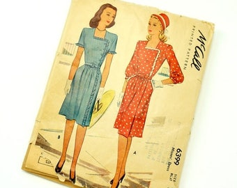 Shop Sale Vintage 1940s McCalls Pattern 6399 / 40s Womens Size 14 Wrap Day Dress / bust 32 waist 26.5 / Uncut Complete