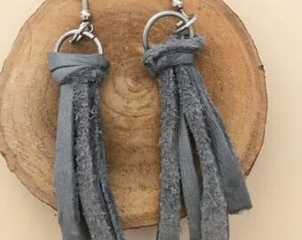 Gray Leather Tassel Dangle Earrings