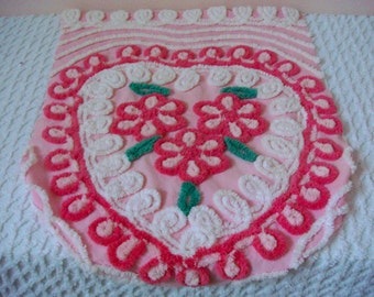 Pink Tonal Floral Heart Vintage Cotton Chenille Bedspread Fabric 20 x 26 Inches