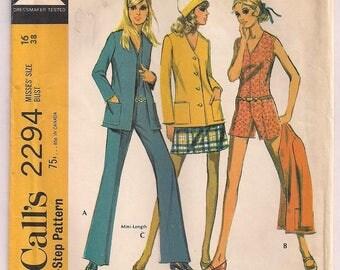 1970 Jumpsuit Pattern McCalls 2294 In two lengths A line skirt Jacket Pattern Retro 70s Vintage Pattern Misses Coordinates Size 16