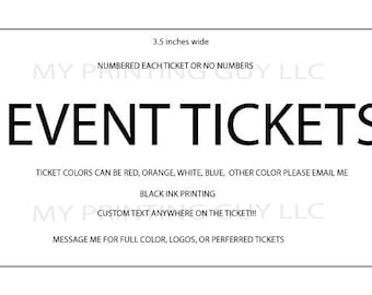 Event Stag Tickets 250 White Custom Printed Raffle Tickets Events Fundraiser Bachelor Church Events School Events Parties